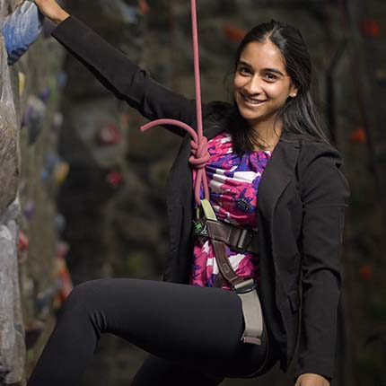 Christine Rasquinha on climbing wall
